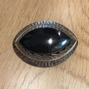Jewelry - Beautiful black onyx and sterling pin/brooch